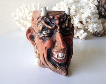 Antique Bohne devil mug rare satan German bisque demon head cup krampus stein