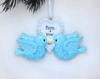 FREE SHIPPING Bluebirds Personalized Christmas Ornament / Love birds / Our first Christmas / Valentines Gift / Gift for Her