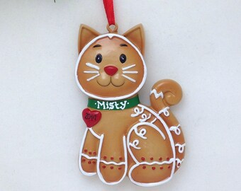 FREE SHIPPING Personalized Christmas Ornament - Gingerbread Cat - custom name or message