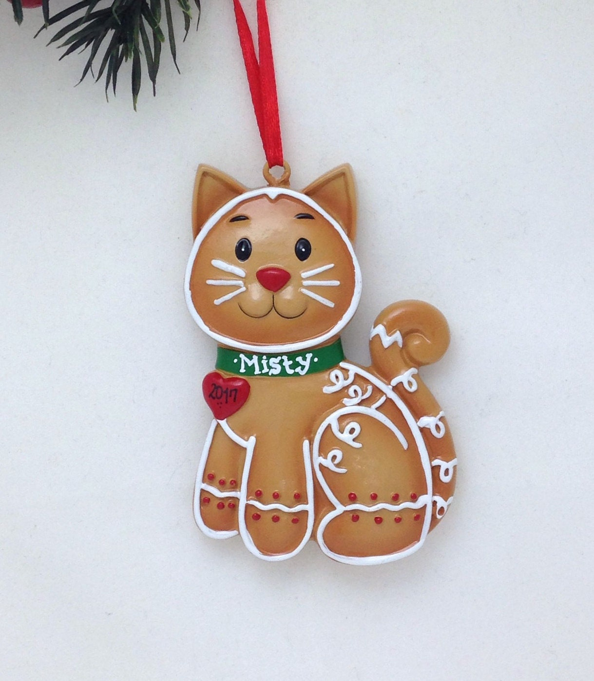 Personalized Christmas Ornament Gingerbread Cat Custom