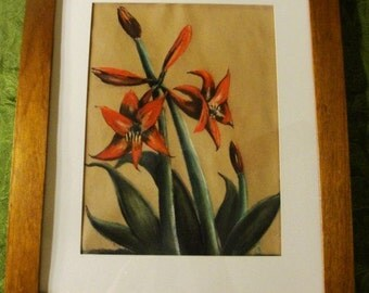 Signed Pastel Exotic Plant a Fine Rendering of a Captivating Work Of Art in Nice Wood Frame 1963
