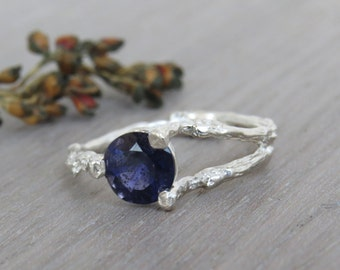 Iolite ring, Twig Engagement Ring, Natural Engagement Ring, Purple Ring, Unique Engagement Ring, Twig Ring, 14k Gold Ring, Iolite Gold Ring