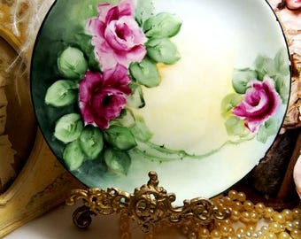 """Antique Hutschenreuther Selb 7.5"""" Hand Painted Burgundy & Pink Roses Plate"""