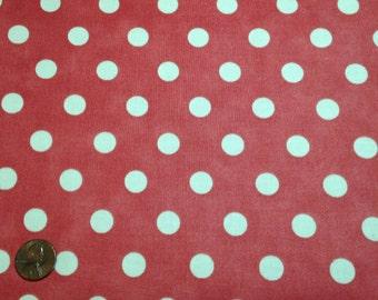 Dottie Junior by Moda, Off White Dots on Faded Red, #8655-14, 1 yard, C230E.