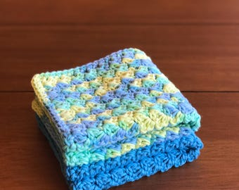 Crochet Dishcloth - Cotton Dishcloth - Housewarming Gift - Crochet Washcloth - Dishcloth Set - Kitchen Gift Basket - Crochet Dish Cloth