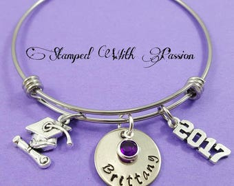 Graduation Bracelet Personalized Graduation Gift 2017 Hand Stamped Graduation Jewelry Custom Unique Custom  Graduate Bracelet 2017