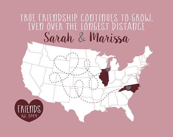 Featured listing image: Long Distance Friend, Personalized Map Gift, Birthday Gift for Best Friend, Move Away Gifts, Mauve, Wine, Gray, True Friendship | WF386