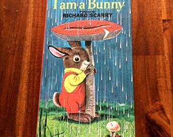 Vintage Golden Sturdy Book - I am a Bunny (1963) Golden Press, Western Publishing Richard Scarry Illustrations