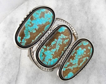 Oversized Hebert George Turquoise and Sterling Silver Native American Cuff for Him or Her RXDT0V-R