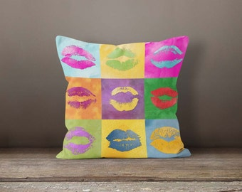 Pop art throw pillow, Colorful collage kiss pillow, Watercolor pillow case, Outdoor & Indoor Accent Pillow, Feminine Home decor, PDP048-10