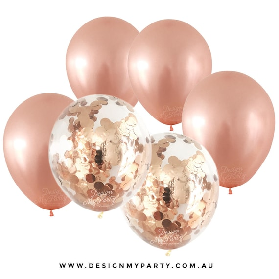 Rose gold metallic balloons with 2 confetti balloons 12 pack for Decoration rose gold