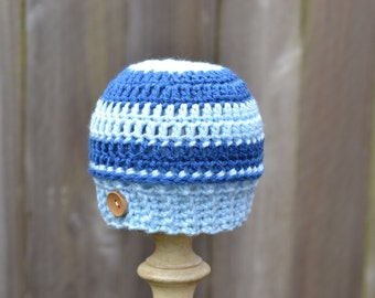 Crocheted Blue Striped Hat for Infant Ready to Ship
