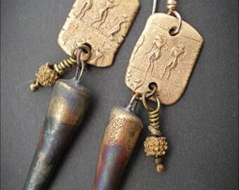 Bronze Petroglyph Raku Spikes Amulet Earrings