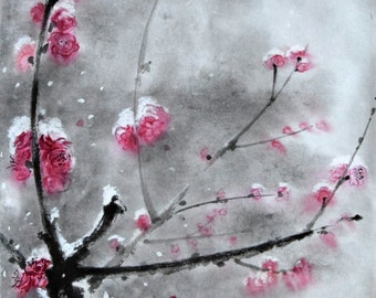 Cherry Blossom, Cherry branch, Cherry Painting, Plum Art, Sumi-e, Japanese Painting, Ink, Chinese Brush, Surreal Artwork