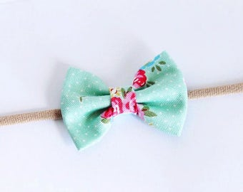 Pastel Blue Rose Floral Print Small Bow Nylon Headband