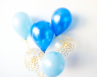 Baby Boy Balloons, Baby Shower Decorations, It's a Boy, Boy Shower, New Baby Party Decor, Couples Shower, Confetti Balloons, Blue & Gold
