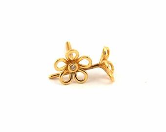 Flower Stud Earrings, Yellow Gold 18K, Diamonds, Girls, Teenage Girl, Bat Mitzvah Gift, Dainty Ears Stud, First fine jewelry, First Diamond