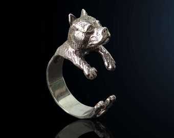 Pitbull ring in sterling silver, silver Pit bull ring, Pitbull puppy, Dog ring, Animal jewelry