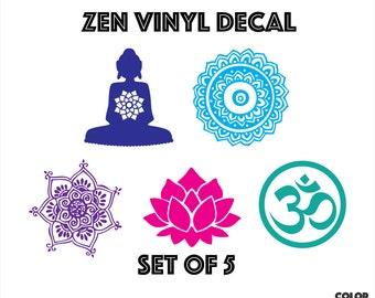 Zen DECAL SET of 5 Lotus Buddha Henna Om Decals Zen Asian Peace Yoga