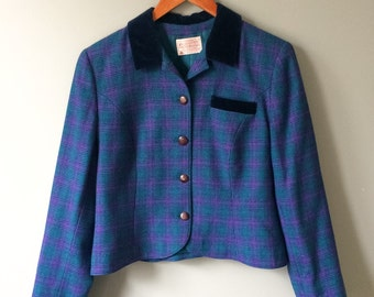 Vintage Wool Pendleton Blazer Plaid Jacket Blue Purple and Velvet Collar Tailored Petite Fit Fitted Lined Preppy Slim Size 12 Medium Large