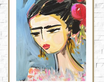 Frida Kahlo Print, roses, pretty, portrait, paper or canvas