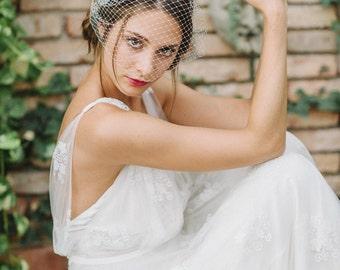 "Veil Birdcage, Bridal Birdcage, French Netting - ""Linn"""