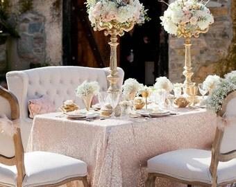 Wonderful Blush Sequin Tablecloth, Rectangle Sequin Tablecloth, Sparkle Tablecloth,  Glitter Table Cover, Wedding