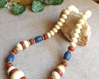 """Patriotic Wooden Bead 20"""" Necklace, vintage necklace, americana jewelry, reclaimed jewelry, vintage Americana"""