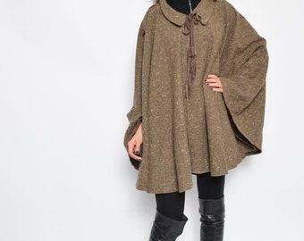 Vintage 80's Brown Wool Cape / Tie Up Wool Cape
