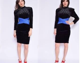 Vintage 90's Velvet Long Sleeve Mini Dress / Color Block Velvet Dress / Turtleneck Velvet Dress / Black Velvet Mini Dress - Size Extra Smal