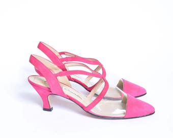 Vintage 90's Pink Strappy Sandal Slingback Shoes with Transparent Plastic / Pink Clear Pumps