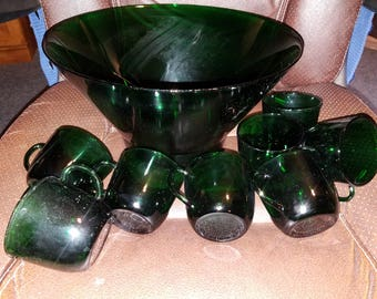 Vintage Hazel Atlas Dark Green Glass Punch Bowl W/8 Cups