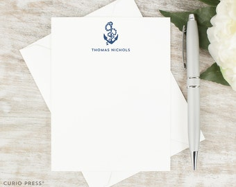 Personalized Stationary Set / Set of Flat Anchor Personalized Stationery Note Cards / Nautical Custom Printed Thank You // ANCHOR