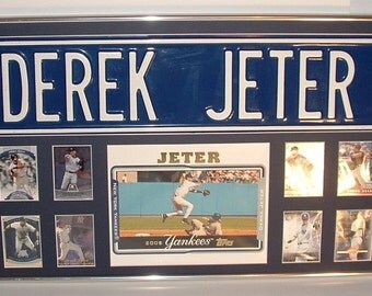 NY Yankees Derek Jeter Street Sign Framed..with cards...Custom Framed!!!