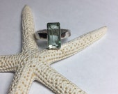 Fluorite Gemstone Ring Sz 8 Hammered Detail Sterling Silver