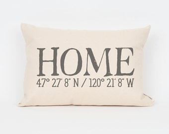 GPS Coordinates Pillow, Home Coordinates Custom Pillow, Housewarming Gift, Realtor Closing Gift, Gift for Mom, Mother in Law Gift