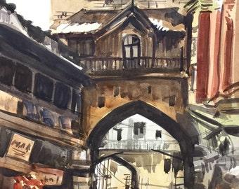 Porbandar Market, Gujarat, India, Indian Watercolor painting, Gujarat painting, India wall art, Original Watercolor Painting