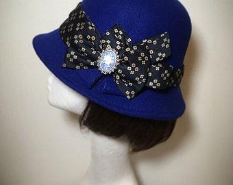 Blue hat, 1920s hat, Winter Hat, Victorian accessory, Cloche Hat, bowler hat