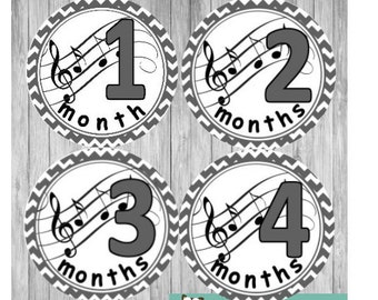 Baby Monthly Stickers, Music Baby Shower, New Baby Gift, Birthday Month Stickers
