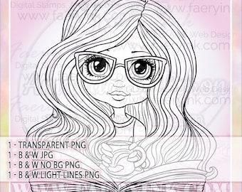 Bookworm Glasses Girl Cutie UNCOLORED Digital Stamp Image Adult Coloring Page jpeg png jpg Fantasy Craft Fae Cardmaking Papercrafting DIY
