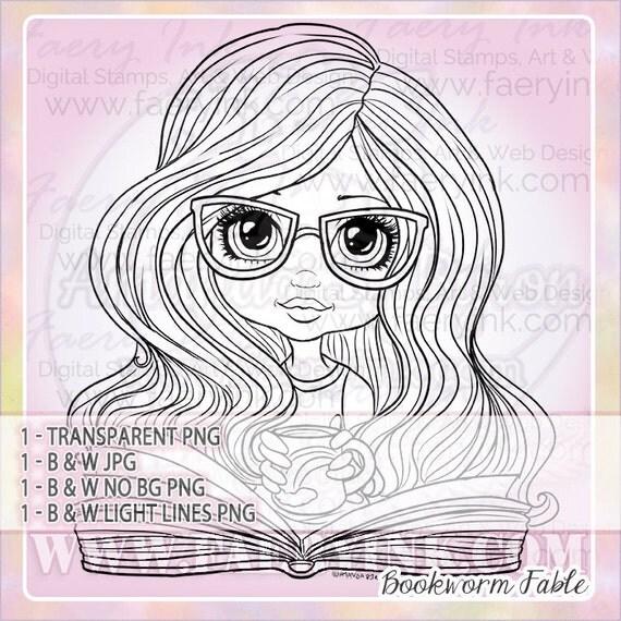 Bookworm Glasses Girl Cutie UNCOLORED