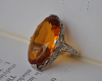 Antique Sterling Ring - 1920s Art Deco Sterling, Orange Glass Stone,