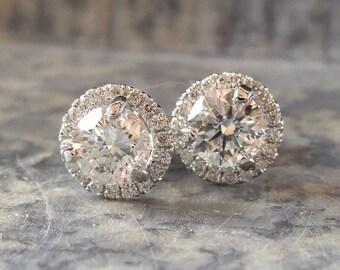 1.14ctw Diamond Stud Earrings w/ Halo