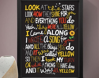 Coldplay - Yellow Poster, Song Lyrics Print, Music Poster, Song Lyrics, Music Print