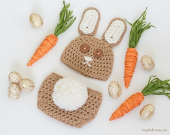 CROCHET PATTERN - Easter Bunny Baby Hat & Diaper Cover Set