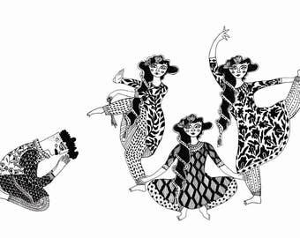 THE DANCERS, texture prints, Indian art