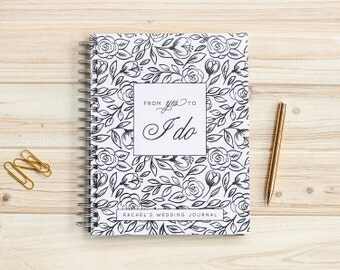 Wedding Journal Personalized Wedding Planner Book Wedding Binder Wedding Planner Wedding Notebook Wedding Guide engagement journal lay flat