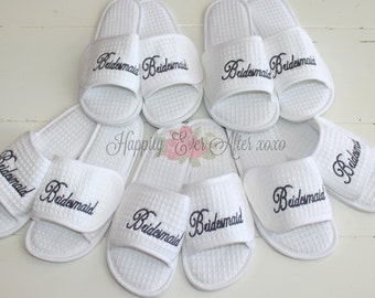 Choose Quantity 15 through 18 Pair Spa Slippers Bridesmaid, Maid of Honor Monogram Wedding Party Gift Under 30 Dollars Christmas Gift