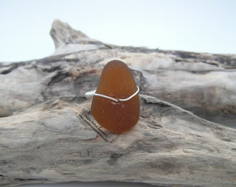 Cornish Sea Glass Ring - Amber ~ Cornwall ~ Sterling Silver