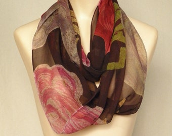 Proverbs 31:25 (partial quote) - Hand Painted Silk Chiffon Infinity Scarf with Block Text and Roses - dark wine background